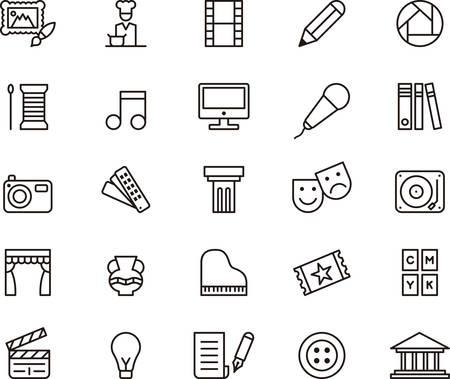 Illustration pour ARTS and ENTERTAINMENT outlined icons - image libre de droit