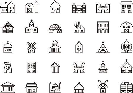 Foto de BUILDINGS and CONSTRUCTIONS outlined icons - Imagen libre de derechos