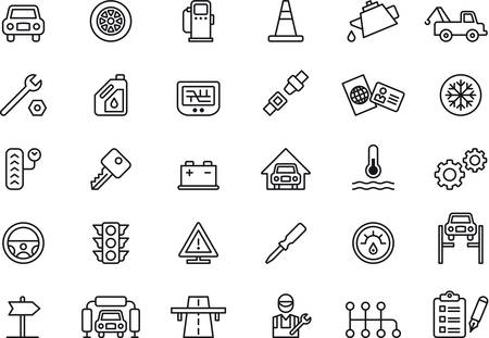 Set of outlined icons related to CAR REPAIR SHOP