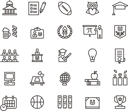 Set of outlined icons related to COLLEGE and EDUCATION
