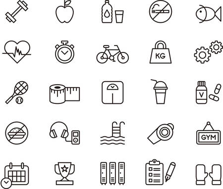 Ilustración de Set of outlined icons related to HEALTH, FITNESS and PERSONAL CARE - Imagen libre de derechos