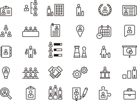 Photo pour Set of BUSINESS, COMPANY, HUMAN RESOURCES and WORKERS outlined icons - image libre de droit