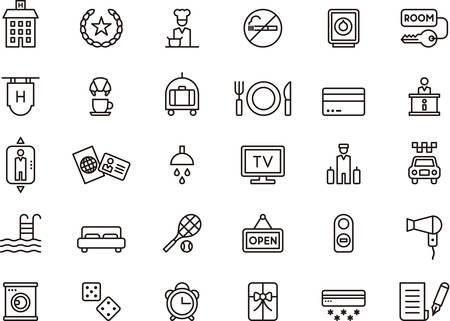 Ilustración de Set of HOTEL outlined icons - Imagen libre de derechos
