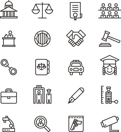 Illustration pour Set of JUSTICE and LAW outlined icons - image libre de droit