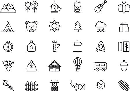 Illustration pour Set of outlined icons related to NATURE, MOUNTAIN, CAMPING, HIKING and OUTDOOR ACTIVITIES - image libre de droit