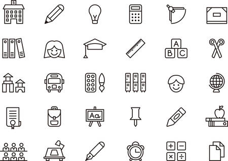 Photo for Set of outlined icons related to SCHOOL and EDUCATION - Royalty Free Image