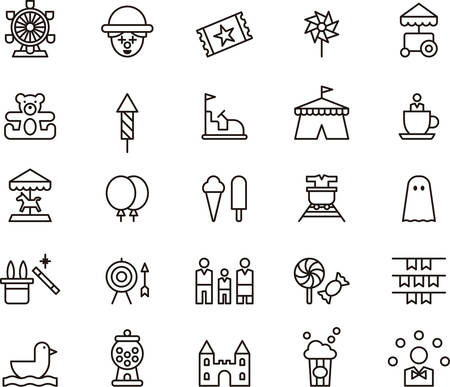 Illustration for AMUSEMENT PARK outline icons - Royalty Free Image