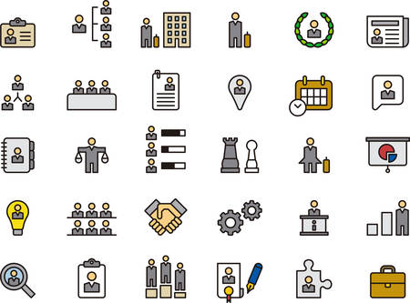 BUSINESS, HHRR & MANAGEMENT outlined and colored icons