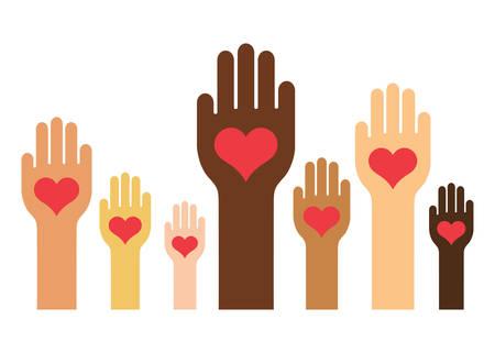 Illustration pour Hands & Hearts (Skin Color Version) - image libre de droit
