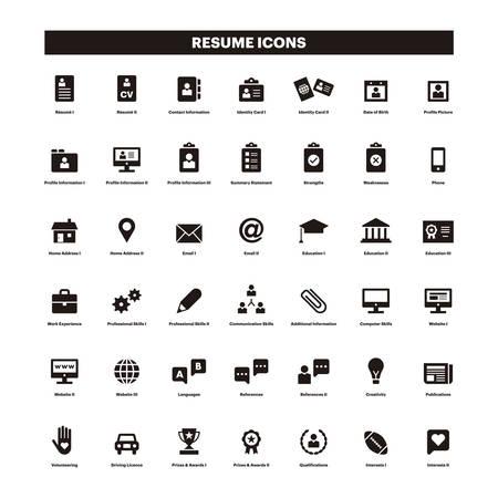 Illustrazione per CV and resume black solid icons - Immagini Royalty Free