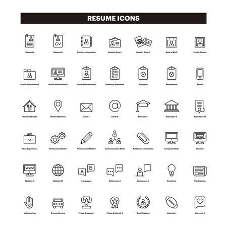 Illustrazione per CV & SUMMARY outline icons - Immagini Royalty Free