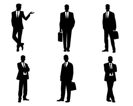 Illustration for Vector illustration of a six businessmen silhouettes - Royalty Free Image
