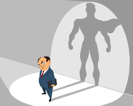 Illustration for Vector illustration of old businessman and him silhouette - Royalty Free Image