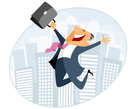 Illustration for Vector illustration of businessman jumping with case - Royalty Free Image