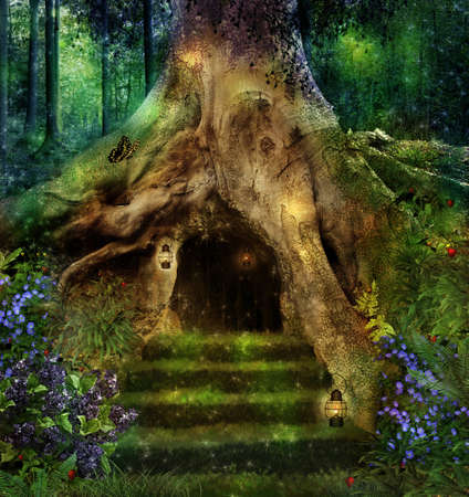 Photo for Old tree in the forest with a little house in its roots - Royalty Free Image