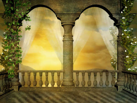Photo for Fantastic castle balcony with transparent curtains and flowers - Royalty Free Image
