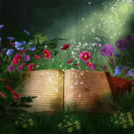 Foto de Magic book in a fantastic forest - Imagen libre de derechos