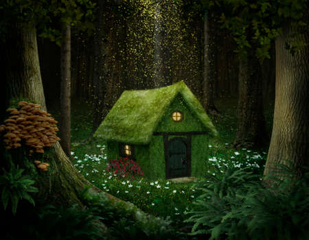 Photo pour little house of moss in an enchanted forest - image libre de droit