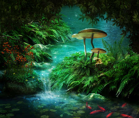 Photo pour view of fantasy river wiht a pond, red fishes and mushroom - image libre de droit