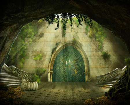 Photo pour fantasy cave with a ruined castle inside, marble staircase and a painting - image libre de droit