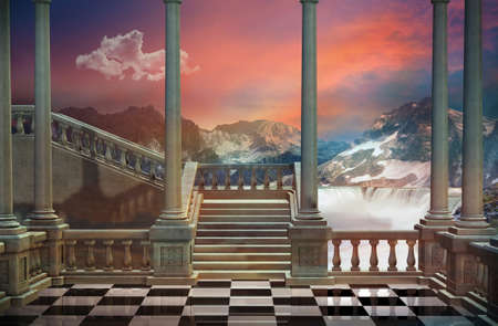 Photo pour View of a castle balcony and a beautiful landscape with mountains and waterfall - image libre de droit