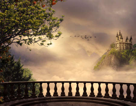 Photo for View from a balcony of a castle at the top of the mountain in a beautiful day - Royalty Free Image
