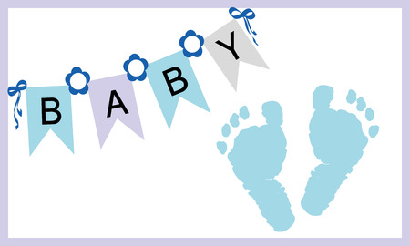 Illustrazione per Baby boy feet prints greeting card vector - Immagini Royalty Free
