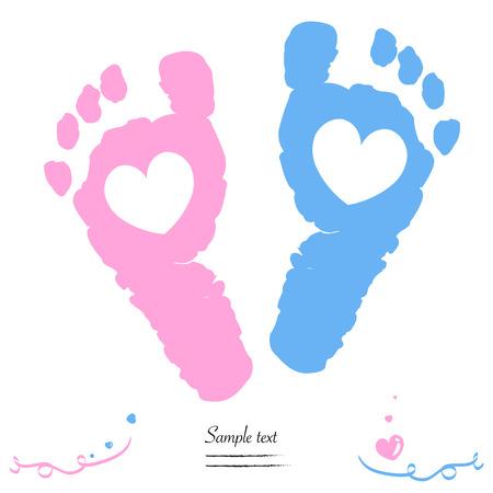 Ilustración de Twin baby girl and boy feet prints arrival greeting card vector - Imagen libre de derechos