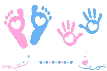 Ilustración de Twin baby girl and boy feet and hand print card on arrival - Imagen libre de derechos