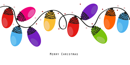 Illustration for Colorful Christmas light bulbs vector background - Royalty Free Image