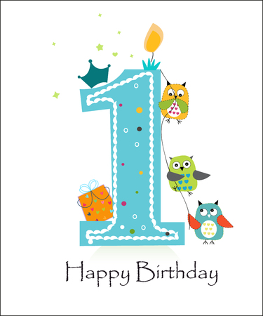 Illustration pour Happy first birthday with owls baby boy greeting card vector - image libre de droit