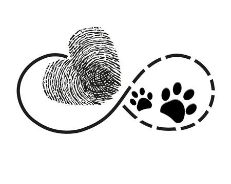 Ilustración de Eternity with finger print and dog paw prints heart symbol tattoo vector illustration - Imagen libre de derechos