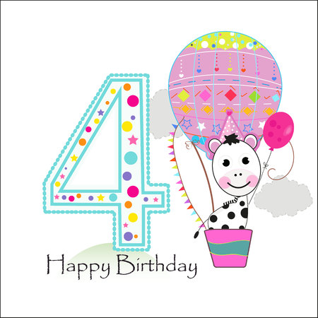 Illustration pour Four balloons and zebra. Happy birthday greeting card - image libre de droit
