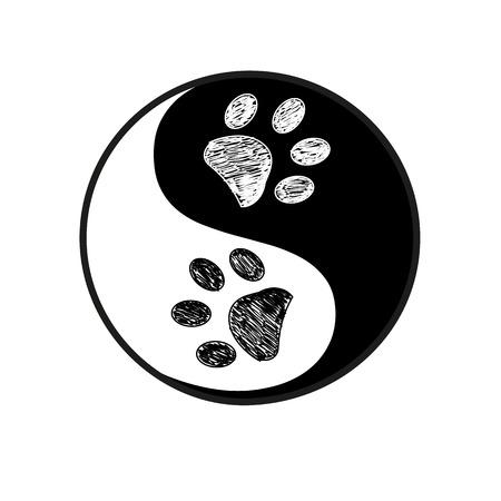 Ilustración de Ying yang made paw print black white background - Imagen libre de derechos