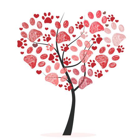 Ilustración de Heart tree with paw prints - Imagen libre de derechos