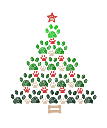 Illustration pour Christmas tree New year greeting card - image libre de droit
