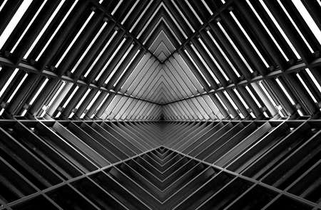 Photo pour metal structure similar to spaceship interior in black and white - image libre de droit