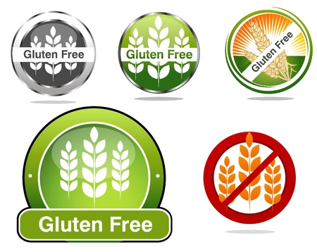 Gluten free food labels collection  Beautiful bright colors  Isolated white background