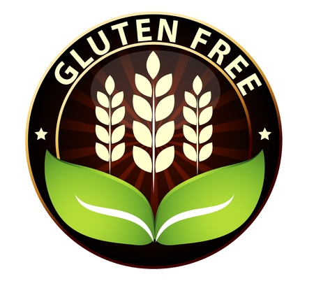 Beautiful Gluten free food packaging sign  Can be used as a stamp, emblem, seal, badge etc  Isolated on a white background