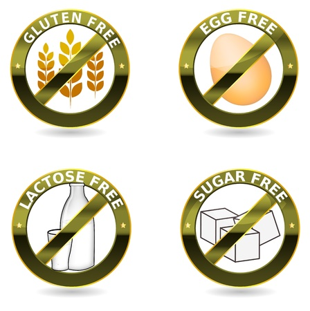 Beautiful diet icon collection  Gluten free, lactose free and egg free  Can be used as a stamp, emblem, seal, badge, on a packaging etc  Beautiful harmonic colors and elegant design