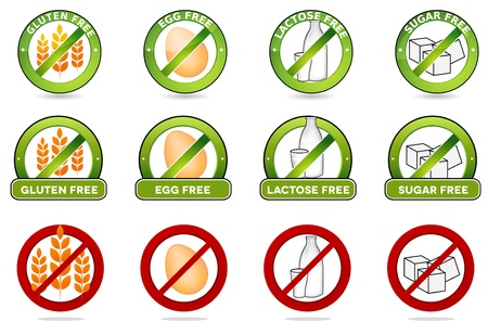 Huge collection gluten free, egg free, lactose free and sugar free signs  Various colorful designs, can be used as stamps, seals, badges, for packaging etc  Isolated on a white background