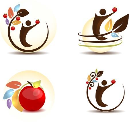 Ilustración de Apple fruit concept  Human keeping apple in his hand  Isolated on a white background   - Imagen libre de derechos