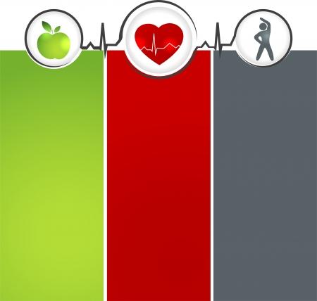 Foto de Wellness and healthy heart symbol  Healthy food and fitness leads to healthy heart and life  - Imagen libre de derechos