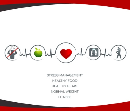 Ilustración de Healthy food, no stress, normal weight, fitness  - Imagen libre de derechos