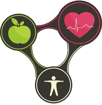 Ilustración de Healthy lifestyle triangle  - Imagen libre de derechos