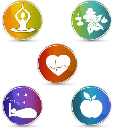 Ilustración de Health symbols  Healthy heart, healthy food, good sleep, yoga, spa therapy  Colorful design  Isolated on a white background  - Imagen libre de derechos