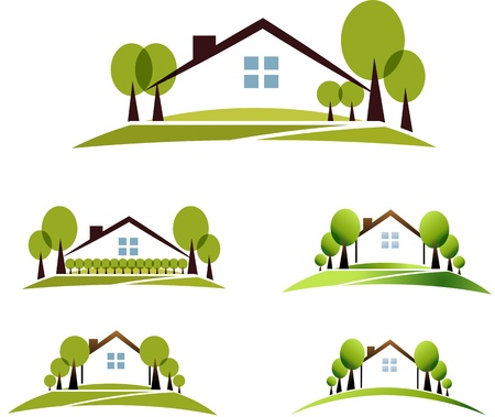 Illustration pour House and garden illustration collection  Beautiful garden, trees and lawn  Isolated on a white background  - image libre de droit