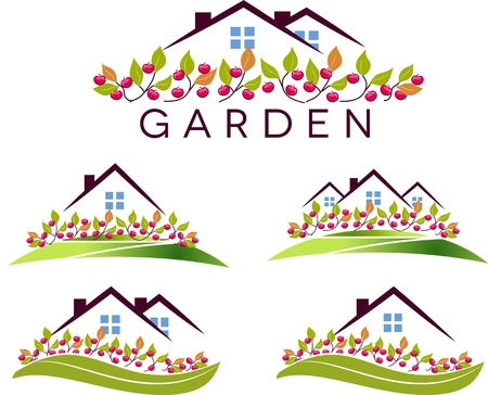Illustration pour Fruit garden and house  Beautiful garden, apple trees and lawn  Isolated on a white background   - image libre de droit