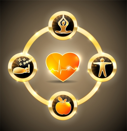 Foto de Health care symbol wheel  Healthy food, fitness, healhy food, good sleep and relaxation leads to healthy heart and life  Bright and bold design   - Imagen libre de derechos
