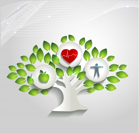 Foto de Healthy human concept. Tree with health care symbols.  Healthy food and fitness leads to healthy heart and life. Beautiful bright design. - Imagen libre de derechos